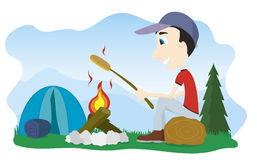 Camp Fire. Vector illustration of a boy sitting by a camp fire roasting a weenie Royalty Free Stock Photography