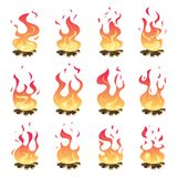 Camp fire animation. Outdoor fireplace hiking bonfire burn vector key frames. Bonfire motion, animation burn campfire illustration stock illustration