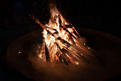 Campfire in a night in camping. Camp fire in a beautiful, clear night in camping royalty free stock images