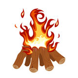 Camp Fire Burning Brightly  illustration. Royalty Free Stock Images