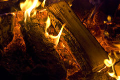 Camp fire burning in the night Stock Image