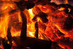Camp fire burning at night Stock Photos