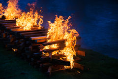 Camp fire burning wood Royalty Free Stock Photo