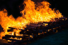 Camp fire burning wood Royalty Free Stock Photos