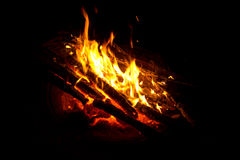 Camp fire. Camping log fire Royalty Free Stock Image
