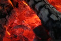Camp Fire Close Up. Close Up of Glowing Red Camp Fire Royalty Free Stock Photography