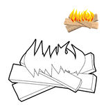 Camp Fire coloring book. Boards and flames in linear style.. Burning logs Stock Photography
