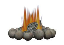 Camp Fire. 3D digital render of a campfire isolated on white background Stock Photography