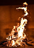 Camp fire in  the fireplace. Stock Photo