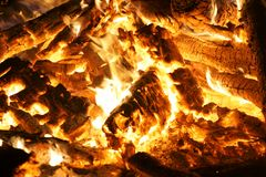 Camp Fire Hot Coals. Crisp up-close image of the coals of a camp fire royalty free stock image