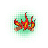 Camp fire icon, comics style. Camp fire icon in comics style on dotted background. Warmth and rest symbol Royalty Free Stock Photography