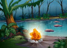 A camp fire. Illustration of a camp fire in a beautiful nature Stock Photography