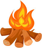Camp fire. Illustration of isolated camp fire on white background stock illustration