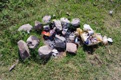 Camp fire litter Stock Image
