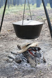 Camp fire with logs and pot Royalty Free Stock Photo