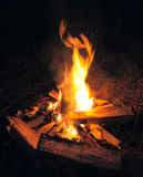 Camp fire in night. Camp fire in black night stock photos