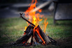 Camp fire. In the night Royalty Free Stock Image