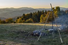 Camp fire in the night royalty free stock image