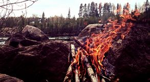 Camp fire. Camp, fire, outdoor royalty free stock photography