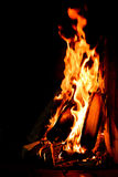 Camp fire. On outdoor camping area fireplace Stock Photo