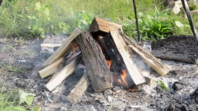 Camp fire outdoors burning stock video footage