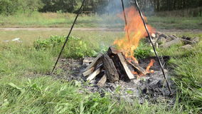 Camp fire outdoors burning stock footage