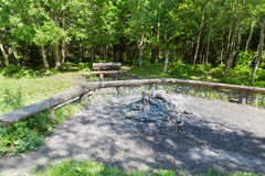 Camp fire place with bench seats in forest Royalty Free Stock Images