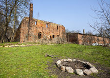 Camp fire place in front of Post Cistercian ruins in Bierzwnik v Royalty Free Stock Photography