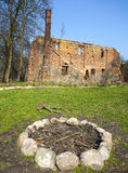Camp fire place in front of Post Cistercian ruins. Stock Image