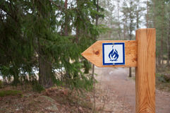 Camp fire sign Stock Photo