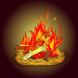 Camp fire sketch Royalty Free Stock Image
