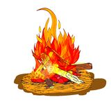 Camp fire sketch. Camp fire flame burn with fireplace wood and stones sketch isolated emblem vector illustration Stock Photography