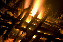Camp fire. With stacked wood Royalty Free Stock Image