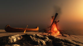 Camp Fire at Sunset. Digital rendering of a camp fire at sunset Stock Image