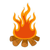 Camp fire on white background Stock Photo