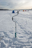 Camp fishermen. Camp fishermen ice fishing on the river Uvod, Ivanovo region Stock Image