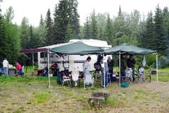 The camp at the fishing spot. Next to the lake Stock Photo