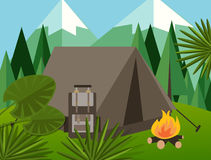 Camp forest mountain flat background illustration pine tree backpack fire jungle vector graphic. Green Stock Images