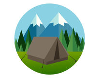 Camp forest mountain flat graphic icon illustration pine tree  jungle vector Royalty Free Stock Photo