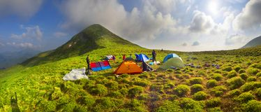 Camp in front of Goverla Stock Photography