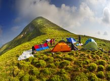 Camp in front of Goverla Stock Photos