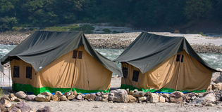 Camp on the Ganges River. India. Royalty Free Stock Photos