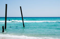 Camp Helen State Park in Panama City Beach Florida USA. Camp Helen State Park in Panama City Beach Florida. A few poles of the old pier that once stood there stock photography