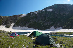 Camp in the high mountains Stock Photo