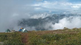 Camp high up in the mountains. HD stock video footage