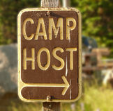 Camp host sign. A sign indicating where the camp host is supposed to be Royalty Free Stock Photos