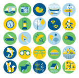 Camp icon set. Set of 25 round icon with travel symbols and signs including outdoor activities, barbecue and wild nature tourism Stock Image