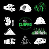 Camp icons and logo graphics, stamps, prints, labels vector illustration