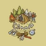 Camp illustration. Beautiful hand- drawn camp illustration  for your design Royalty Free Stock Photos