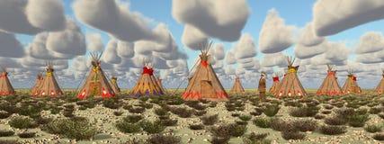 Camp indien dans la prairie illustration libre de droits